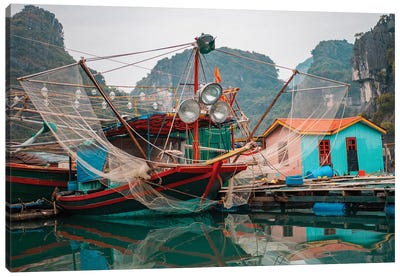 Asia, Vietnam, Quang Ninh, Ha Long Bay. Colorful Fishing Boat At Its Dock Is Reflected In Calm Bay Waters. Canvas Art Print