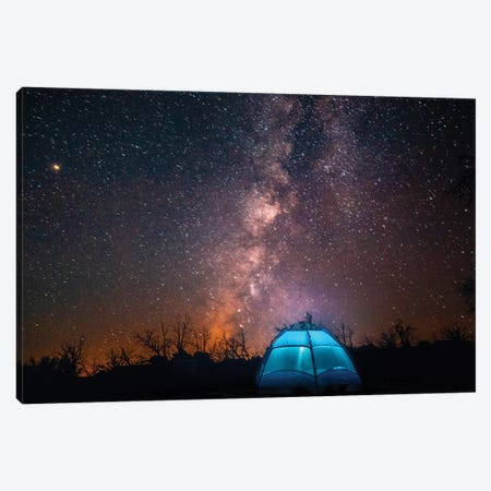 Usa, California, Mojave Desert. An Illuminated Tent Against A Starry Sky And The Milky Way. Canvas Print #BYM3} by Bryce Merrill Canvas Art