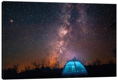 Usa, California, Mojave Desert. An Illuminated Tent Against A Starry Sky And The Milky Way. Canvas Art Print