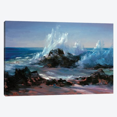 Wave Crashing Canvas Print #BZH12} by Bozhena Fuchs Art Print