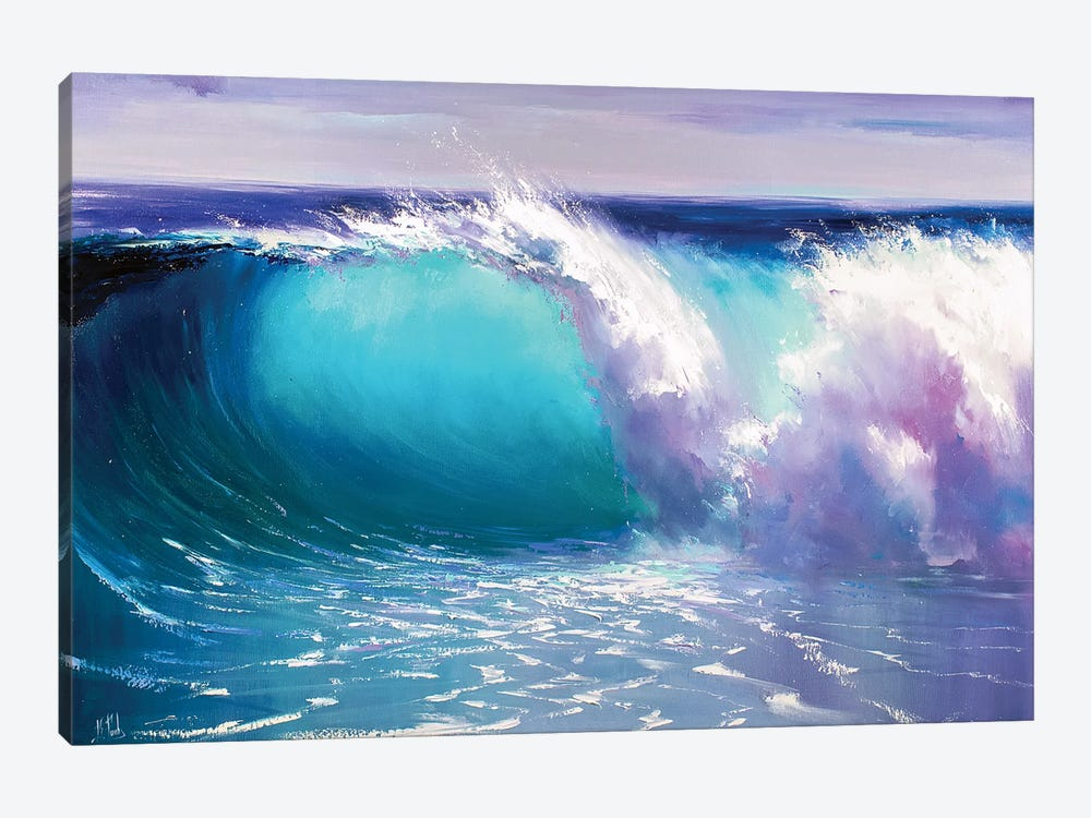 Blue Wave by Bozhena Fuchs 1-piece Canvas Art