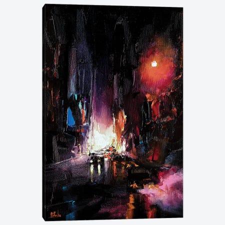 Red City Night Canvas Print #BZH30} by Bozhena Fuchs Canvas Art Print