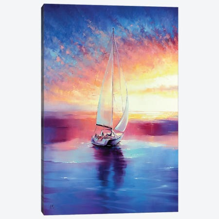 Sailing Sunset Canvas Print #BZH36} by Bozhena Fuchs Canvas Artwork