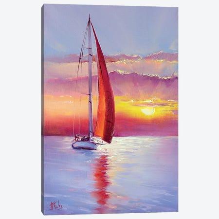 Red Sail Sunset Canvas Print #BZH37} by Bozhena Fuchs Canvas Wall Art