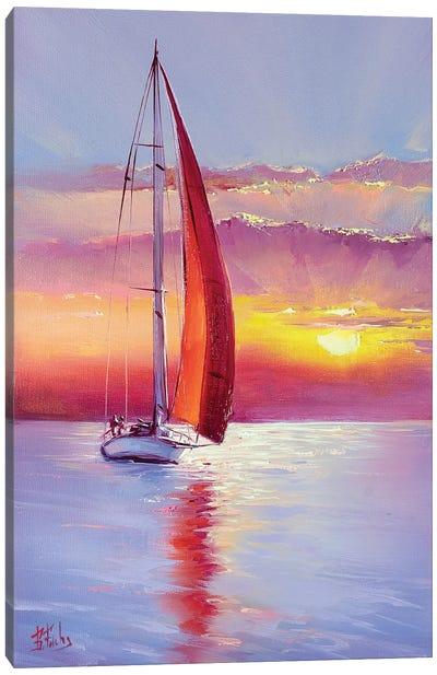 Red Sail Sunset Canvas Art Print