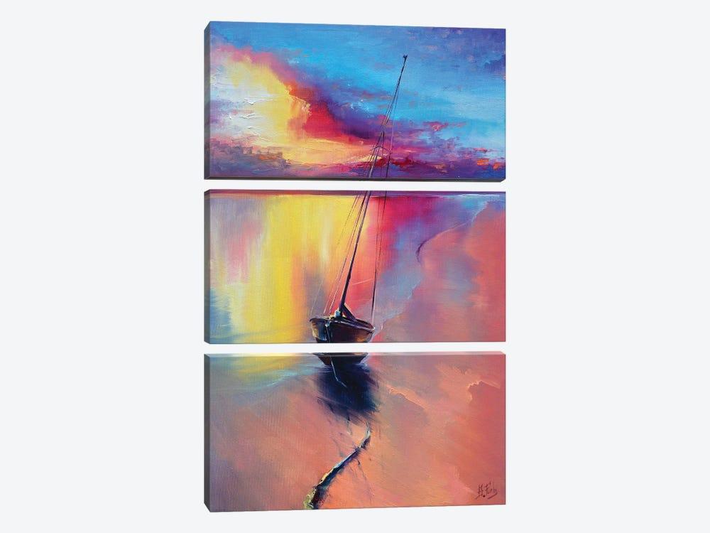 Sunset At The Sea by Bozhena Fuchs 3-piece Canvas Print