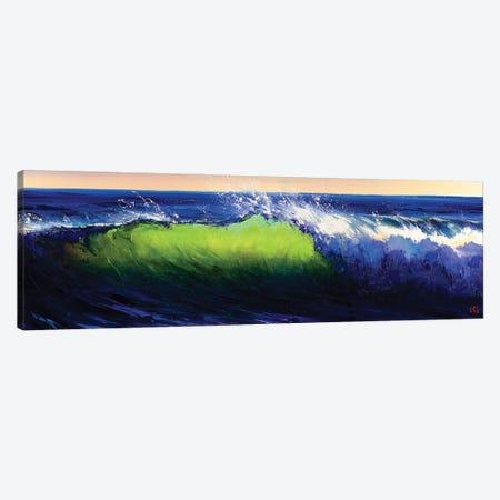 Green Wave Breaking Canvas Print #BZH43} by Bozhena Fuchs Canvas Wall Art