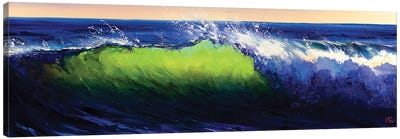 Green Wave Breaking Canvas Art Print