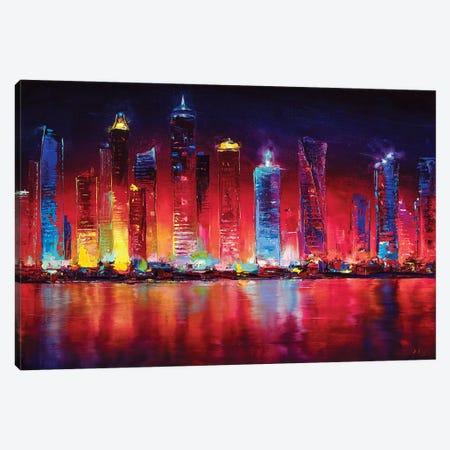 Dubai Skyline Canvas Print #BZH48} by Bozhena Fuchs Canvas Artwork