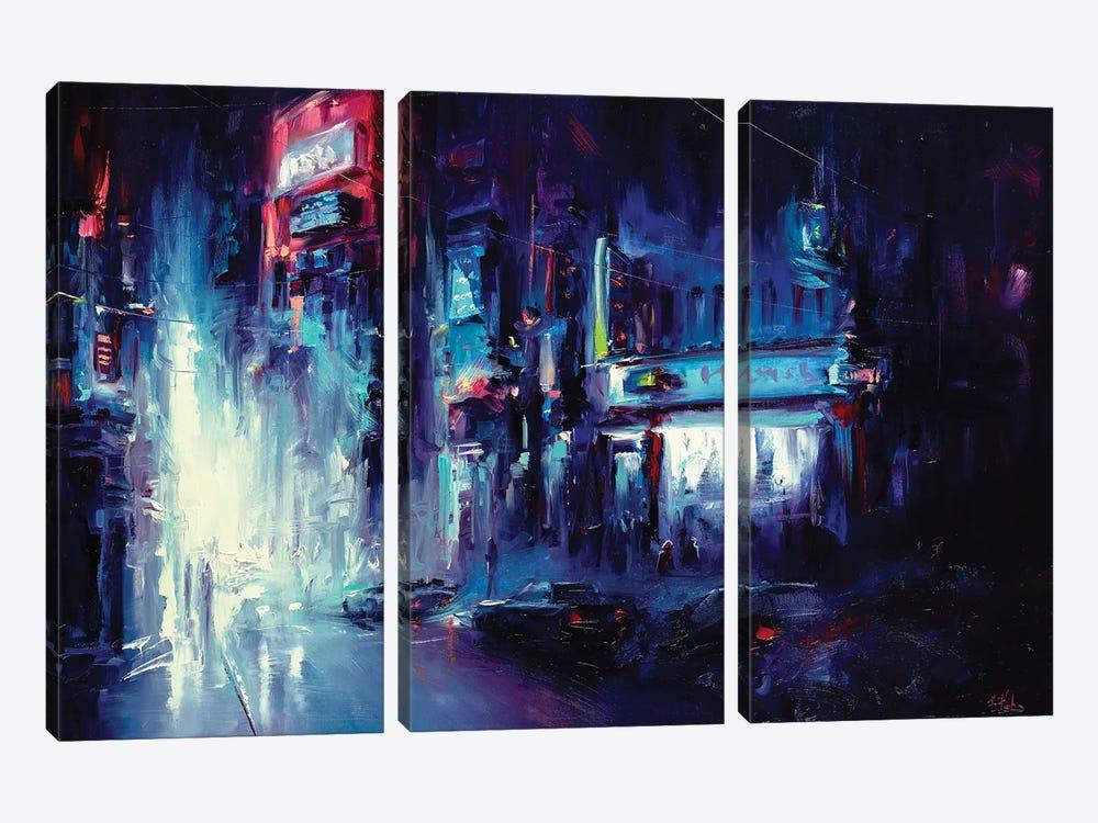 Urban Night Life by Bozhena Fuchs 3-piece Canvas Print