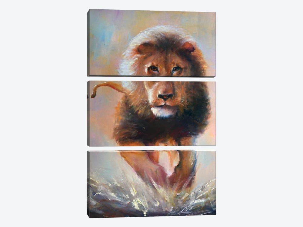 The Lion by Bozhena Fuchs 3-piece Canvas Wall Art