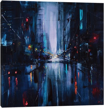 City Night Painting Canvas Art Print
