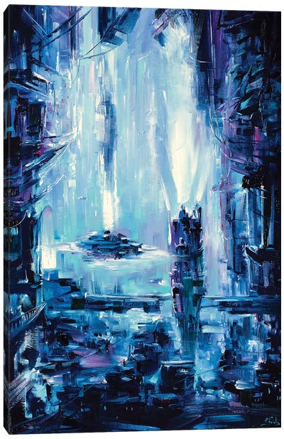 Neon City Canvas Art Print