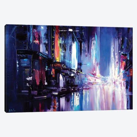 Neon City Painting Canvas Print #BZH72} by Bozhena Fuchs Canvas Print