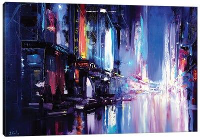 Neon City Painting Canvas Art Print