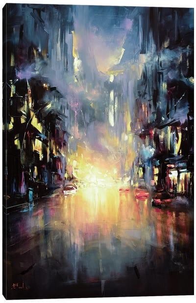 Evening City Lights Canvas Art Print