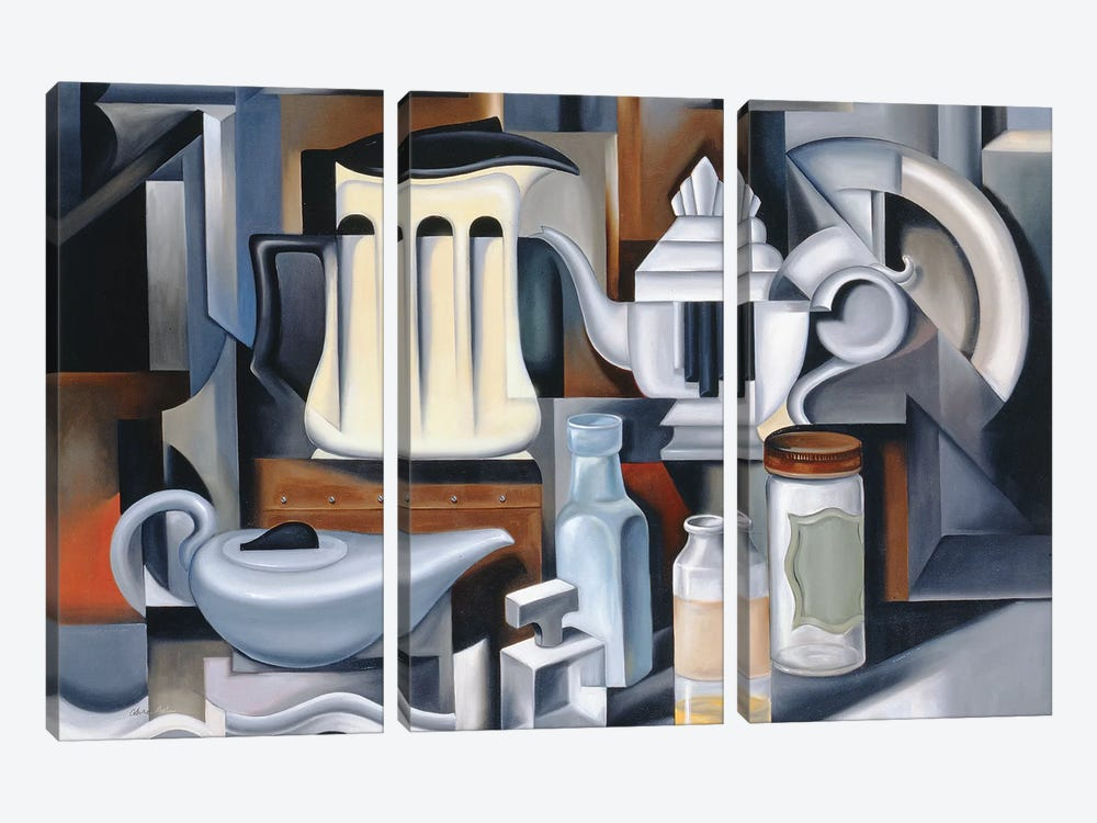 Still Life With Teapots by Catherine Abel 3-piece Canvas Artwork