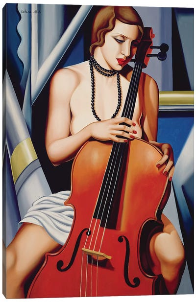 Woman With Cello Canvas Art Print