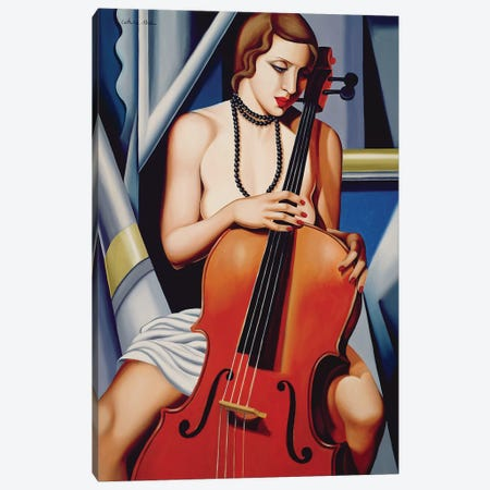 Woman With Cello 3-Piece Canvas #CAB32} by Catherine Abel Canvas Print