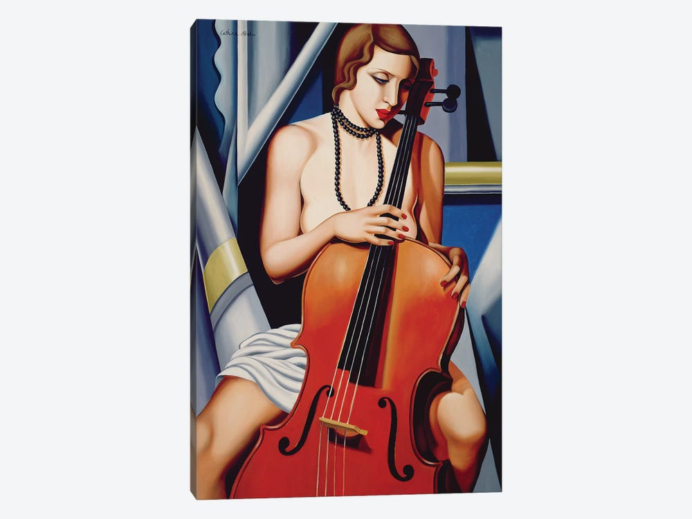 Woman With Cello by Catherine Abel 1-piece Canvas Art Print
