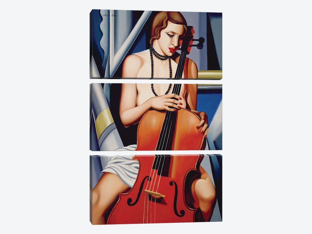 Woman With Cello by Catherine Abel 3-piece Canvas Art Print