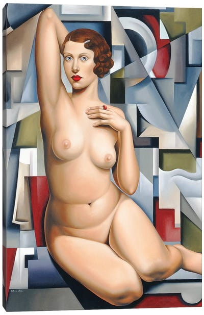 Seated Cubist Nude  Canvas Art Print