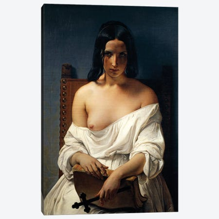 Meditation, Italy in 1848, 1851 Canvas Print #CAB52} by Francesco Hayez Canvas Print