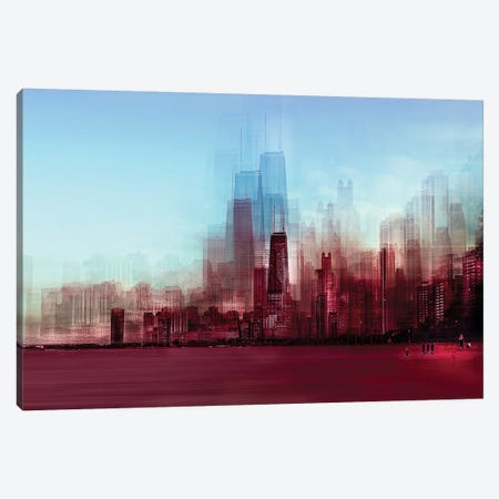Red Chicago Canvas Print #CAC13} by Carmine Chiriaco Canvas Artwork