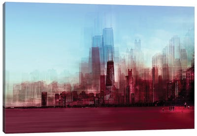 Red Chicago Canvas Art Print