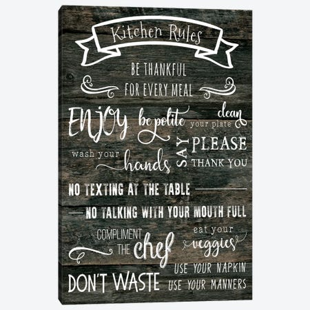 Kitchen Rules Canvas Print #CAD10} by CAD Designs Canvas Art Print