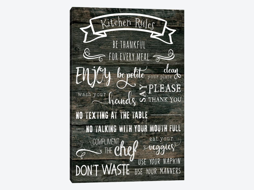 Kitchen Rules by CAD Designs 1-piece Canvas Print