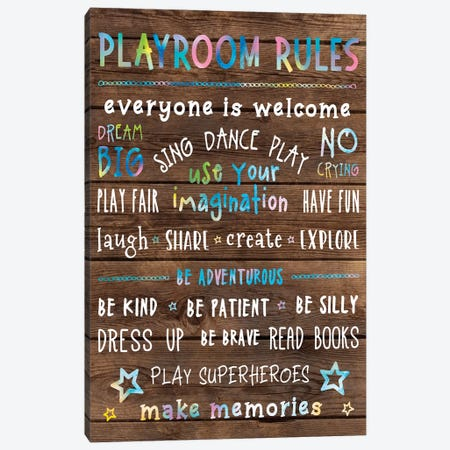 Playroom Rules Canvas Print #CAD11} by CAD Designs Art Print
