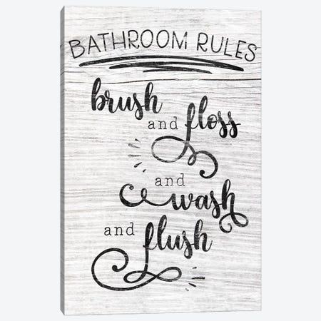 Bathroom Rules Canvas Print #CAD12} by CAD Designs Art Print