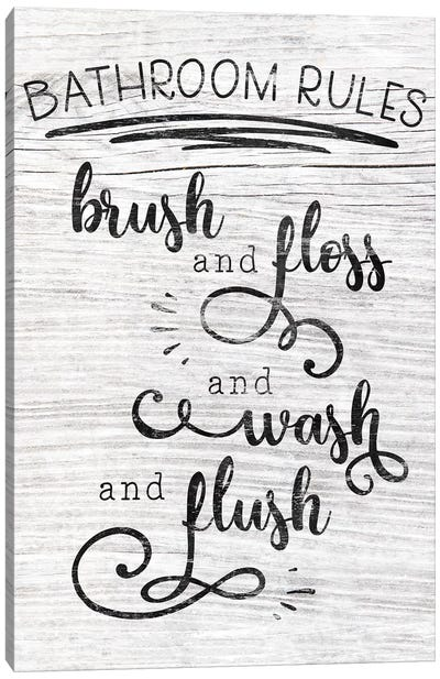 Bathroom Rules Canvas Art Print