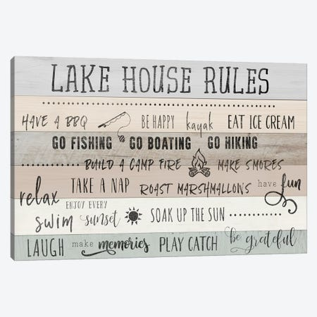 Lake House Rules Canvas Print #CAD29} by CAD Designs Canvas Wall Art