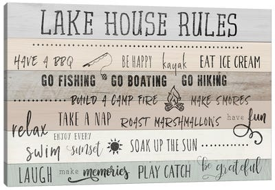 Lake House Rules Canvas Art Print