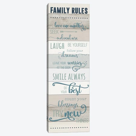 Family Rules Canvas Print #CAD35} by CAD Designs Canvas Artwork