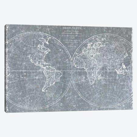 Galvanized World Map Canvas Print #CAD73} by CAD Designs Art Print