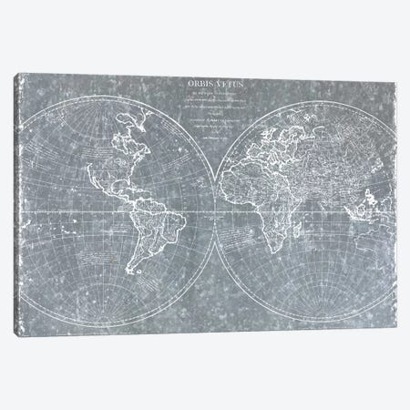 Galvanized World Map Canvas Print #CAD73} by CAD Designs Art Print