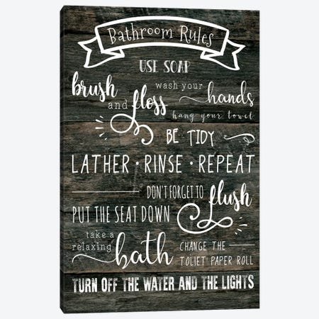 Bathroom Rules Canvas Print #CAD7} by CAD Designs Art Print