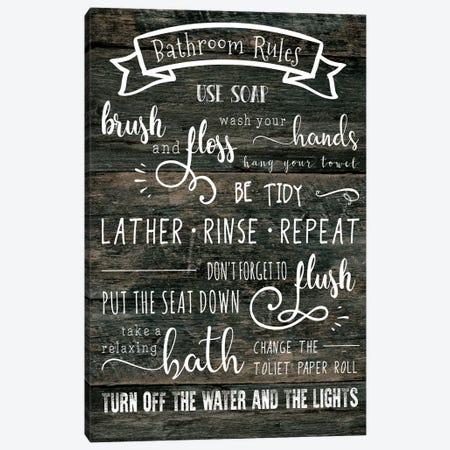 Bathroom Rules Canvas Print #CAD7} by CAD Designs Art Print