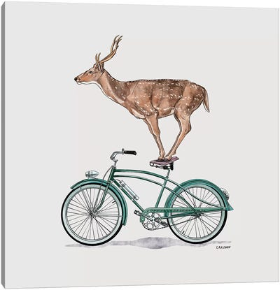 Deer On Bicycle Canvas Art Print
