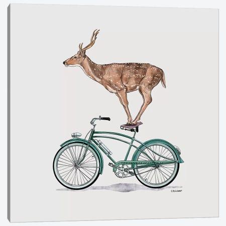Deer On Bicycle Canvas Print #CAE12} by Carolynn Elshof Canvas Art