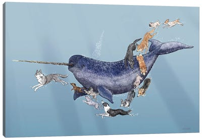 Dogs Swimming With Narwhals Canvas Art Print