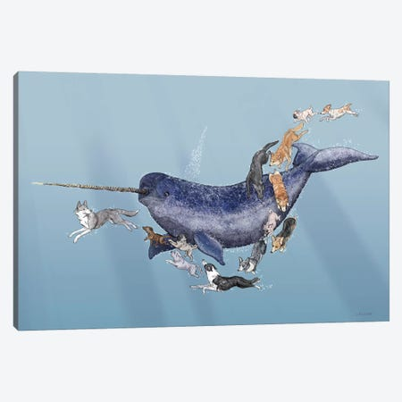Dogs Swimming With Narwhals Canvas Print #CAE13} by Carolynn Elshof Canvas Wall Art