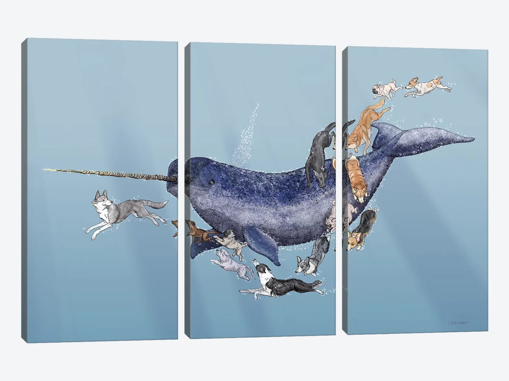Dogs Swimming With Narwhals by Carolynn Elshof 3-piece Canvas Art Print