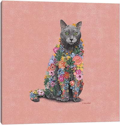 Flower Cat Canvas Art Print