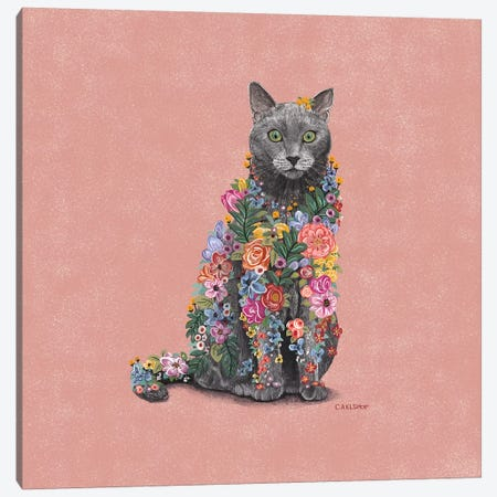 Flower Cat 3-Piece Canvas #CAE16} by Carolynn Elshof Canvas Print