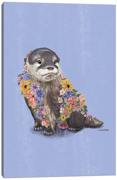 Flower Otter Canvas Art Print