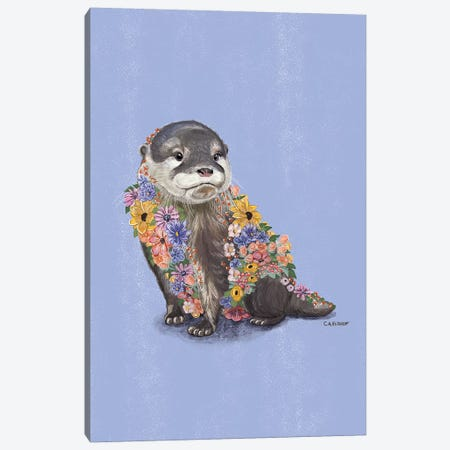 Flower Otter Canvas Print #CAE18} by Carolynn Elshof Canvas Wall Art